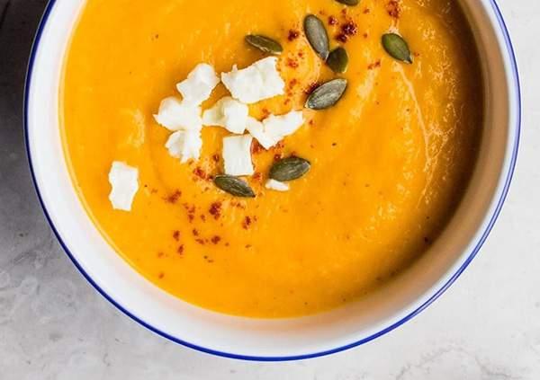 Crema de calabaza, patata, zanahoria y curry
